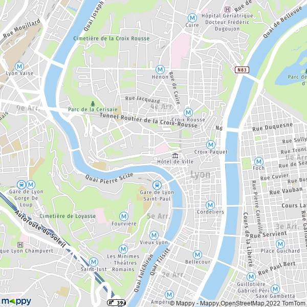 plan de 1er Arrondissement Lyon, carte de 1er Arrondissement Lyon
