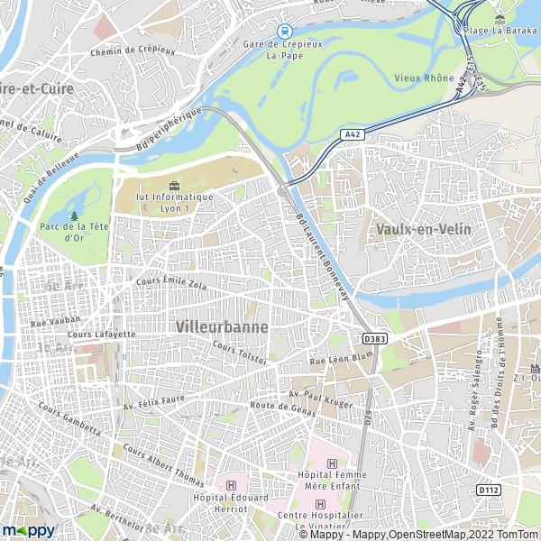 Plan villeurbanne carte de villeurbanne 69100 et infos for Abrite des plans et des plans