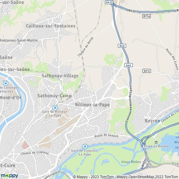 plan de Rillieux-la-Pape, carte de Rillieux-la-Pape