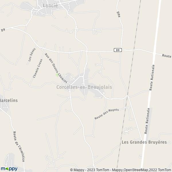 plan corcelles en beaujolais carte de corcelles en beaujolais 69220 et infos pratiques. Black Bedroom Furniture Sets. Home Design Ideas