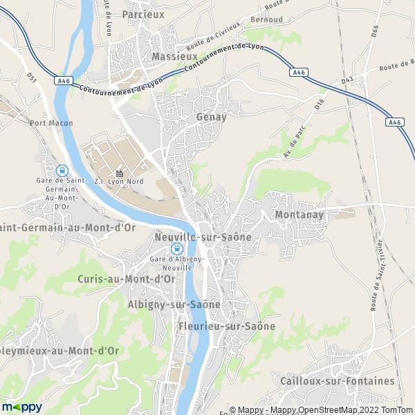 plan de Neuville-sur-Saône, carte de Neuville-sur-Saône