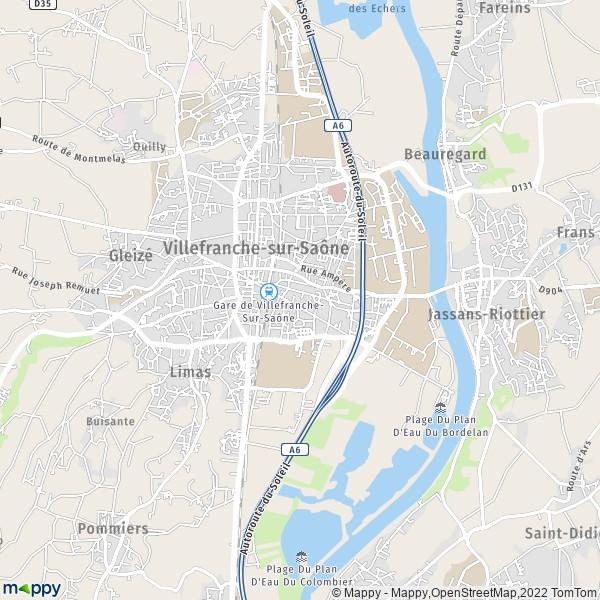Plan villefranche sur saone carte de villefranche sur - Piscine de villefranche sur saone ...