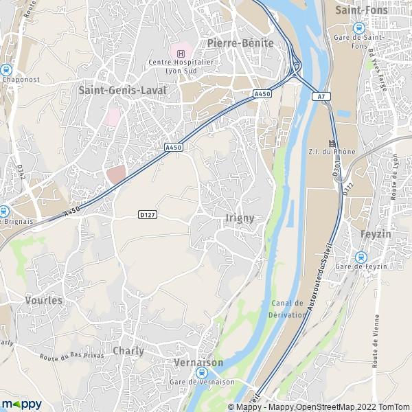 Carte Lyon.Plan Irigny Carte De Irigny 69540 Et Infos Pratiques