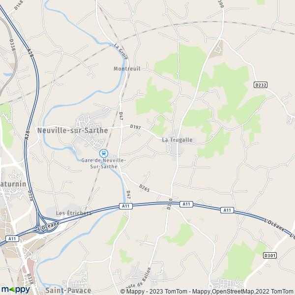plan de Neuville-sur-Sarthe, carte de Neuville-sur-Sarthe