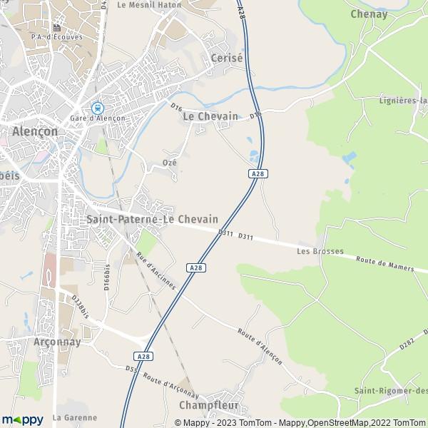 plan de Saint-Paterne, carte de Saint-Paterne
