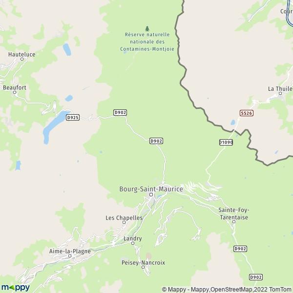 plan de Bourg-Saint-Maurice, carte de Bourg-Saint-Maurice