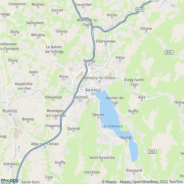 Plan annecy : carte de annecy (74000) et infos pratiques