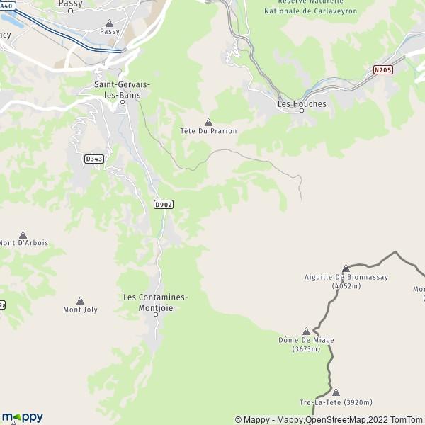 Plan saint-gervais-les-bains : carte de saint-gervais-les