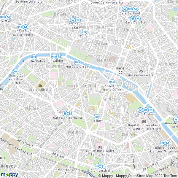 plan de 6e Arrondissement, Paris, carte de 6e Arrondissement, Paris