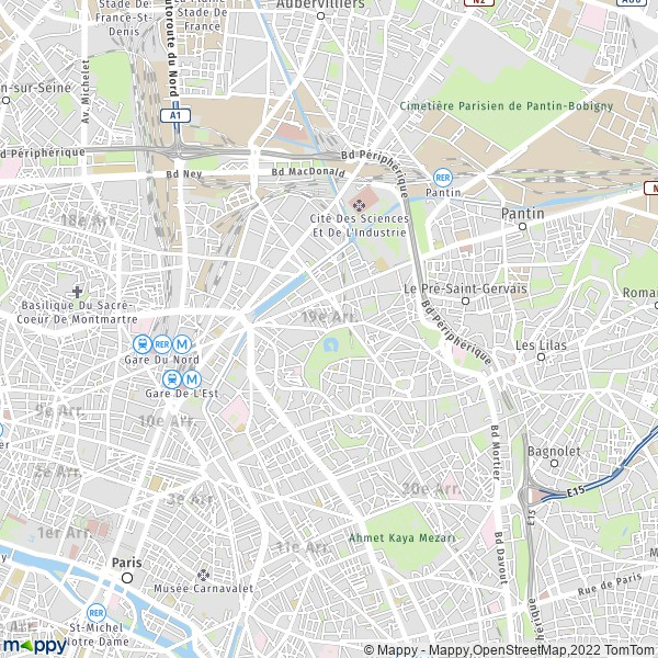 plan de 19e Arrondissement Paris, carte de 19e Arrondissement Paris