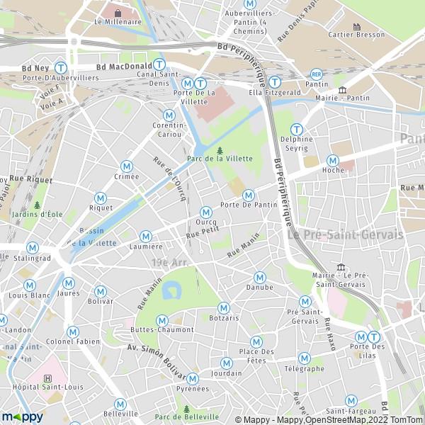 Carte Buttes Chaumont.Plan Paris Carte De Paris 75019 Et Infos Pratiques