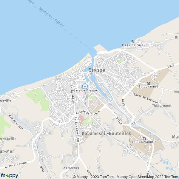 plan de Dieppe, carte de Dieppe