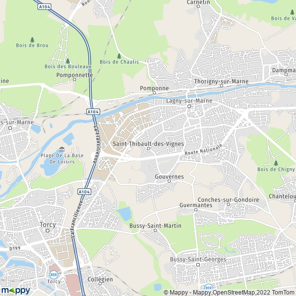 plan de Saint-Thibault-des-Vignes, carte de Saint-Thibault-des-Vignes