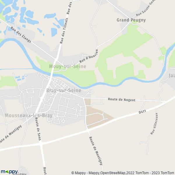 Plan bray sur seine carte de bray sur seine 77480 et for Bray sur seine piscine