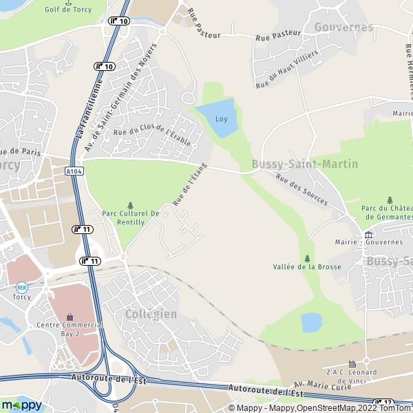 plan de Bussy-Saint-Martin, carte de Bussy-Saint-Martin