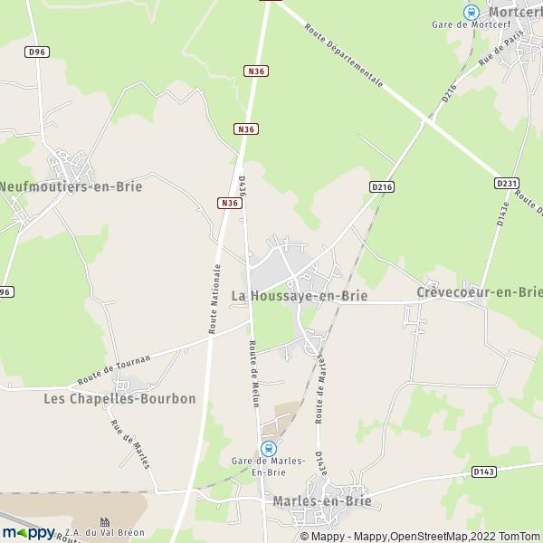 plan de La Houssaye-en-Brie, carte de La Houssaye-en-Brie