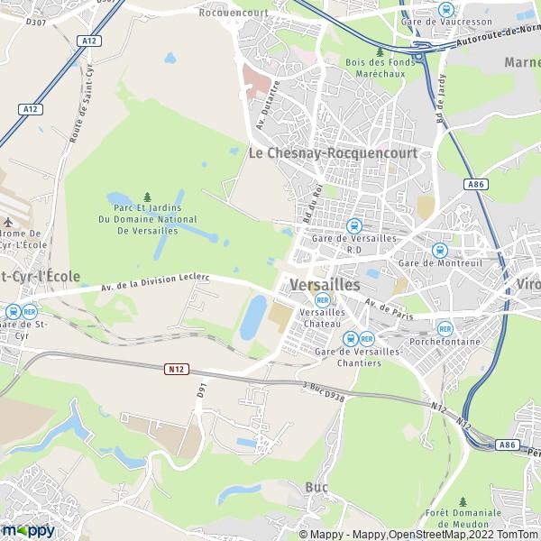 Plan versailles carte de versailles 78000 et infos for Porte de versailles plan