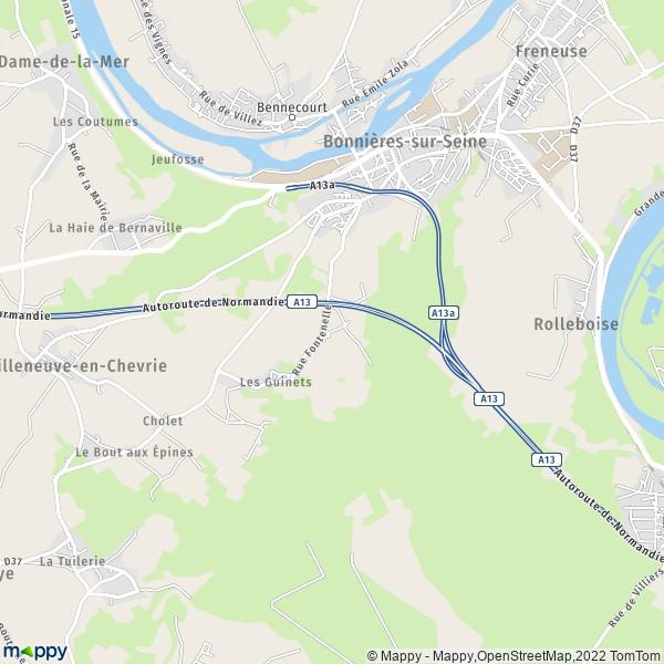 plan de Bonnières-sur-Seine, carte de Bonnières-sur-Seine