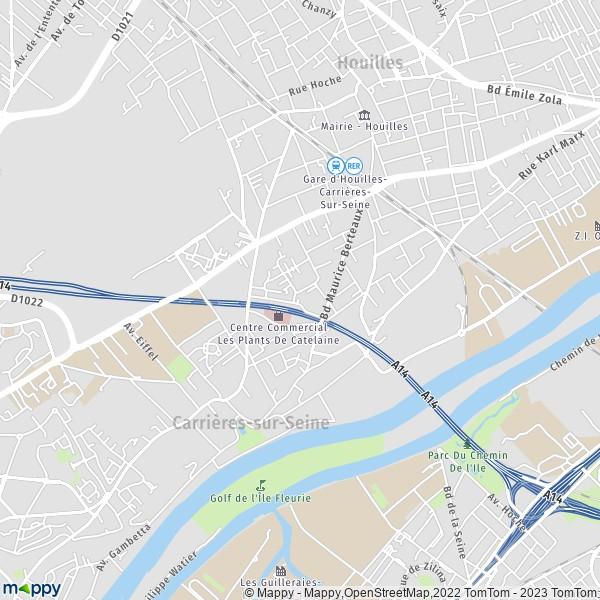 Plan Carrieres-sur-seine : Carte De Carrieres-sur-seine