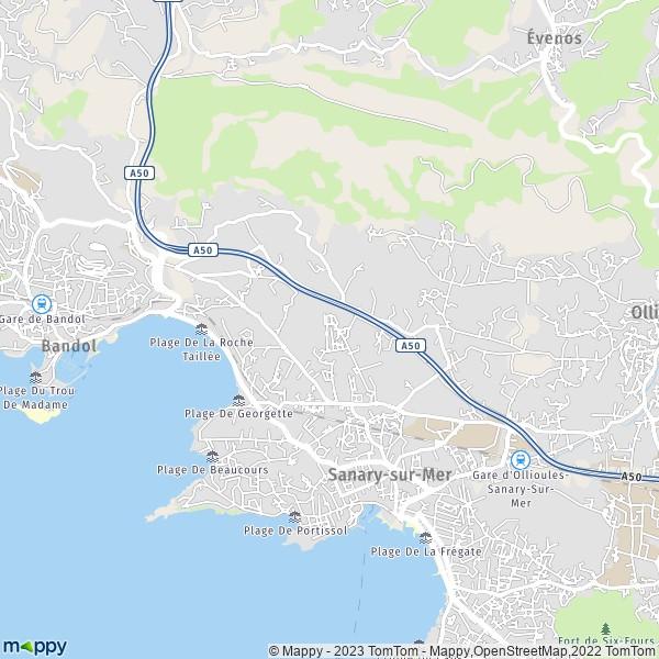 Plan sanary sur mer carte de sanary sur mer 83110 et - Office du tourisme de sanary sur mer ...