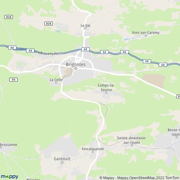 plan de Brignoles, carte de Brignoles