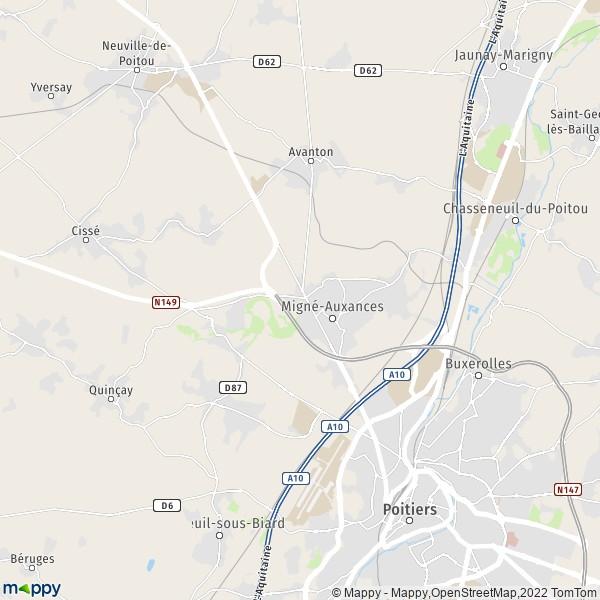 plan de Migné-Auxances, carte de Migné-Auxances