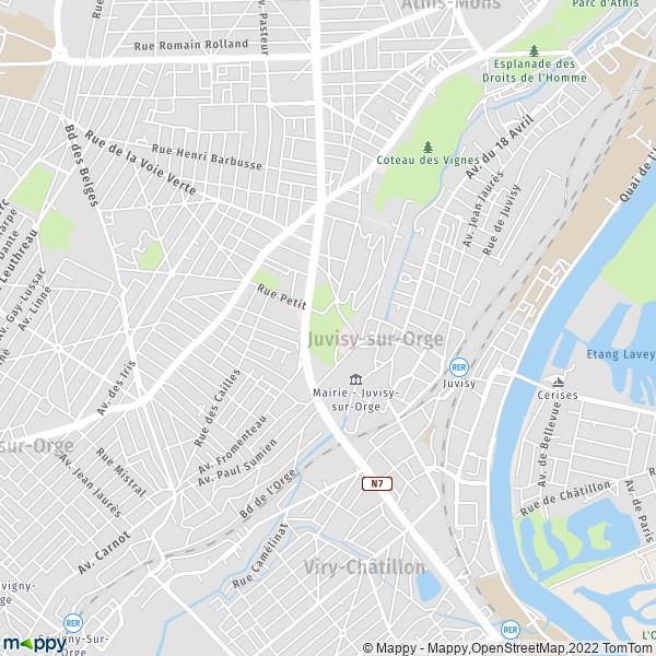 plan de Juvisy-sur-Orge, carte de Juvisy-sur-Orge