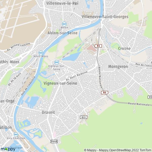 plan de Vigneux-sur-Seine, carte de Vigneux-sur-Seine