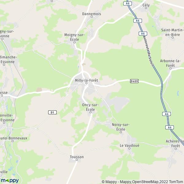 plan de Milly-la-Forêt, carte de Milly-la-Forêt