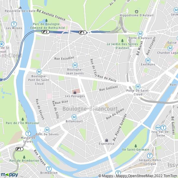 plan de Boulogne-Billancourt, carte de Boulogne-Billancourt