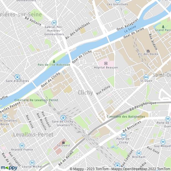 plan de Clichy, carte de Clichy