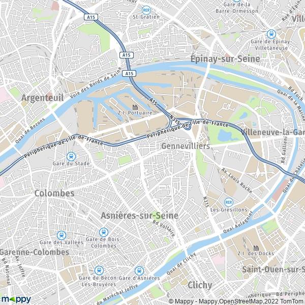 Plan Gennevilliers   Carte De Gennevilliers  92230  Et