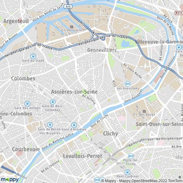 plan de Asnières-sur-Seine, carte de Asnières-sur-Seine