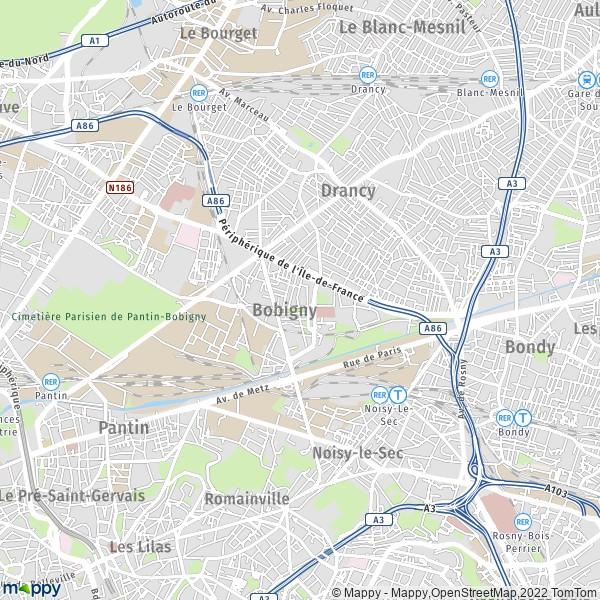 plan de Bobigny, carte de Bobigny
