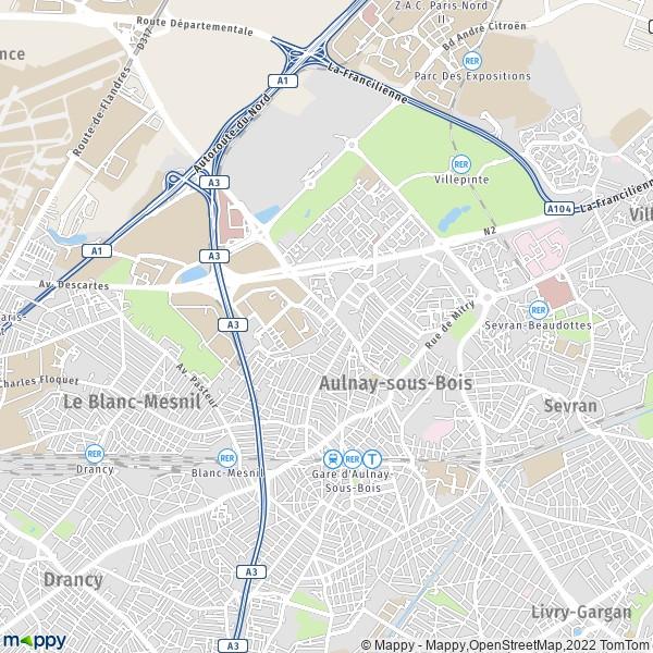 Plan Aulnay sous Bois carte de Aulnay sous Bois (93600) et infos pratiques # Carte Grise Aulnay Sous Bois