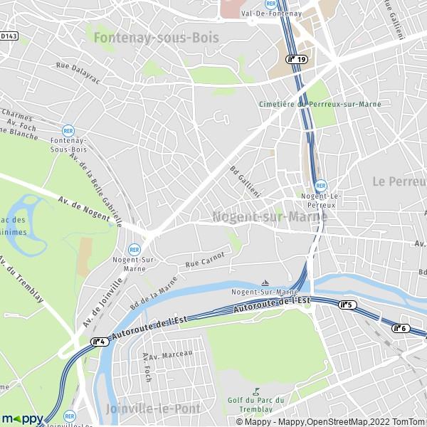 plan de Nogent-sur-Marne, carte de Nogent-sur-Marne