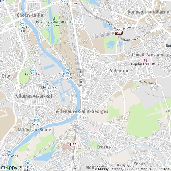 plan villeneuve saint georges carte de villeneuve saint georges 94190 et infos pratiques. Black Bedroom Furniture Sets. Home Design Ideas