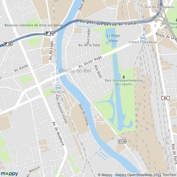 plan de Choisy-le-Roi, carte de Choisy-le-Roi