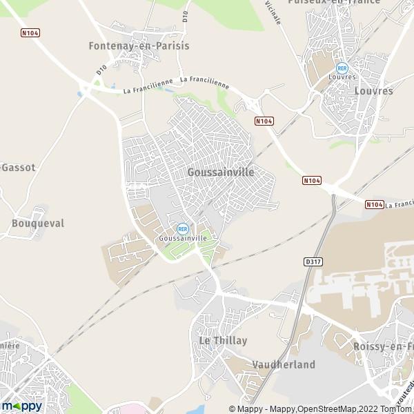 Plan goussainville carte de goussainville 95190 et for Piscine de goussainville