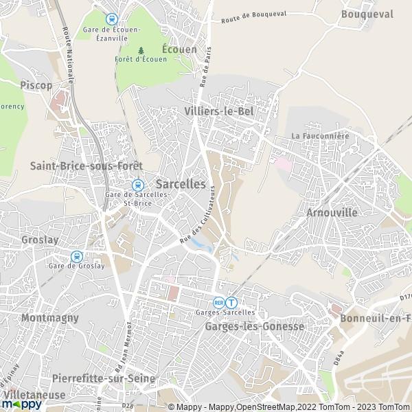 plan de Sarcelles, carte de Sarcelles