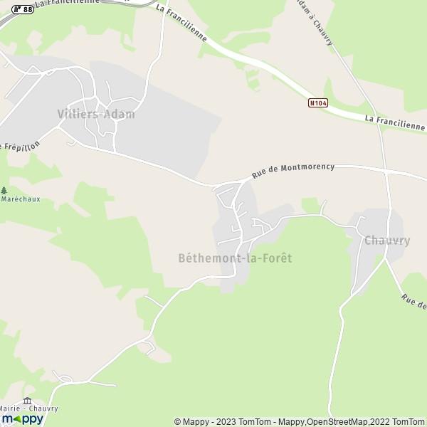 Plan Béthemont la For u00eat carte de Béthemont la For u00eat (95840) et infos pratiques # La Soissonnaise Des Bois
